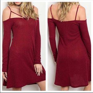 Off the Shoulder Long Sleeve Wine Dress